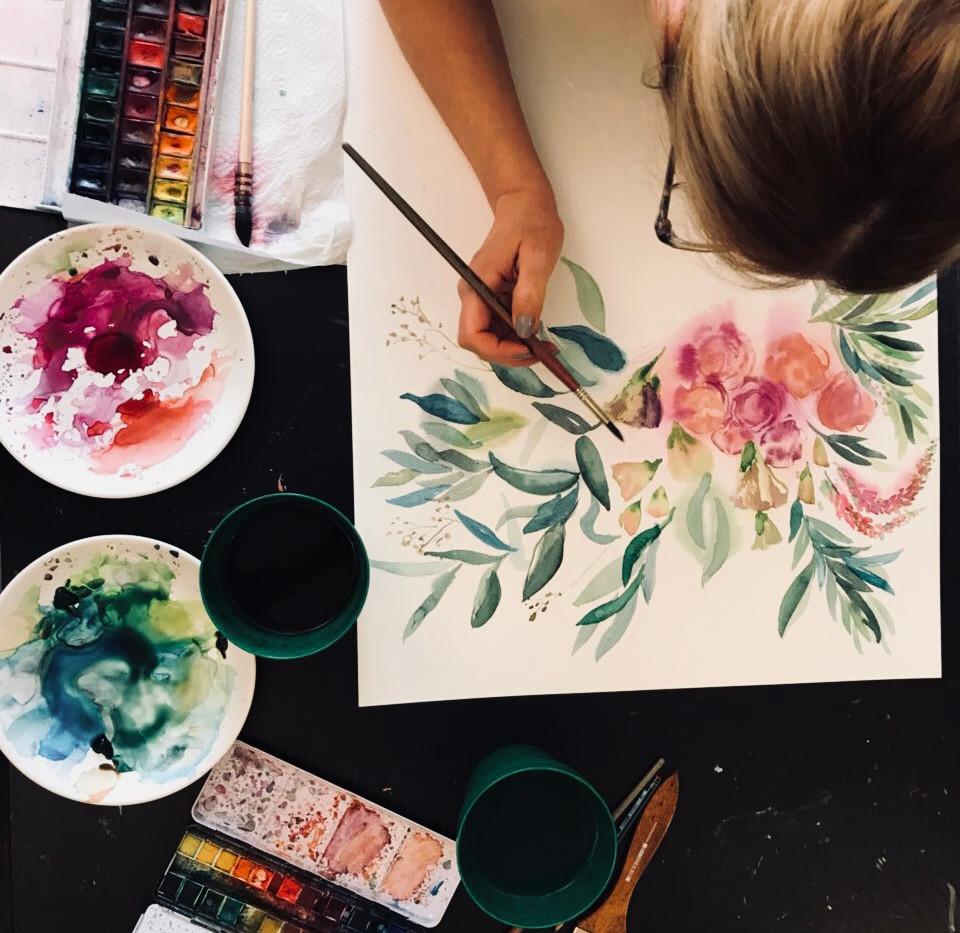 Рисуем акварелью цветы