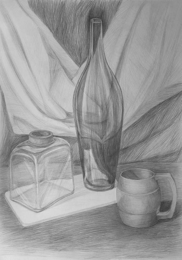 Натюрморт рисунок карандашом.