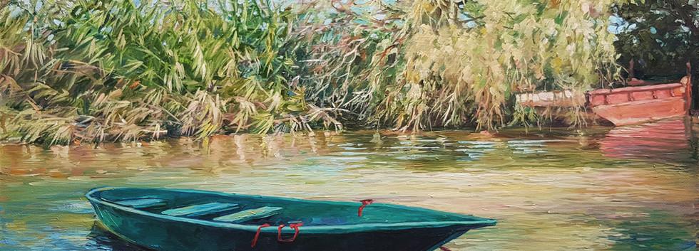 Лодка. Летний пейзаж маслом