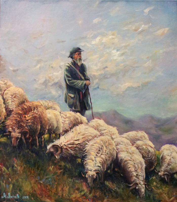 Старый пастух. Картина маслом
