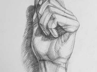 Рисунок руки человека карандашом