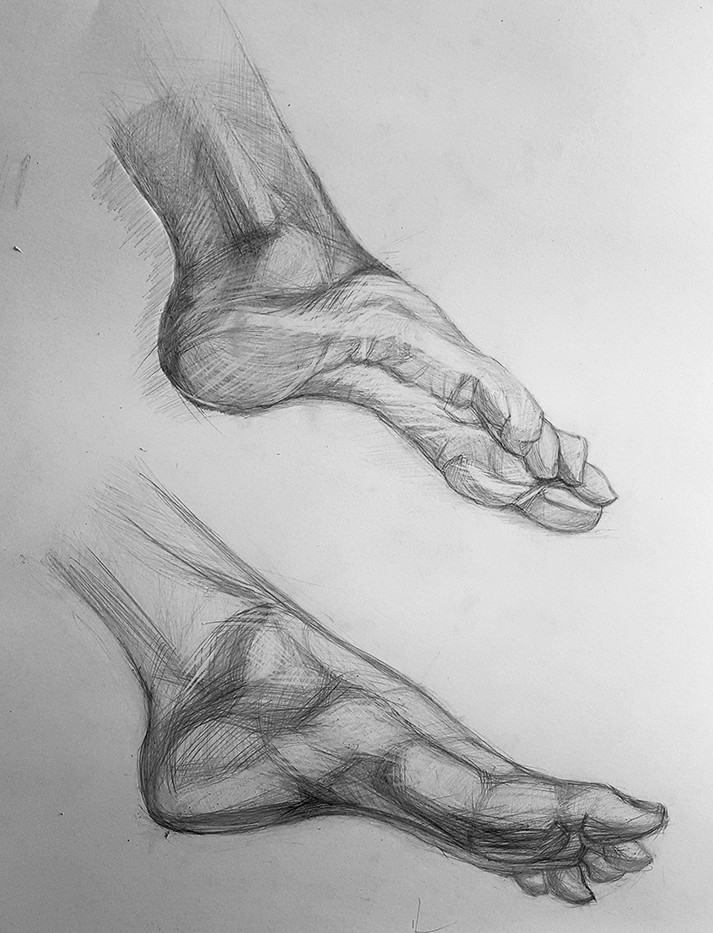 рисунок стоп ног карандашом