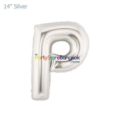 "14"" Silver Letter P Foil Balloon"