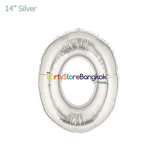 "14"" Silver Letter O Foil Balloon"