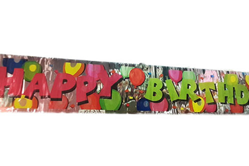 Silver Happy Birthday Colorful Balloons Foil Banner