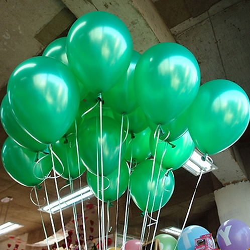 10 Pcs Green Metallic Latex Balloons