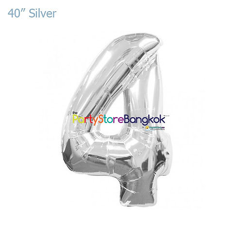"""40"""" Silver Number 4 Foil Balloon"""