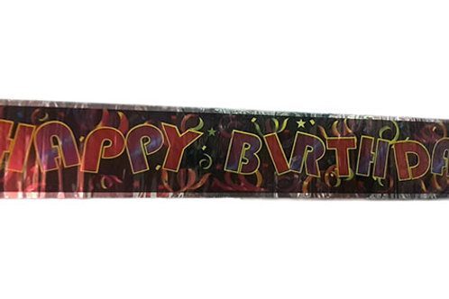 Happy Birthday Confetti Black Foil Banner
