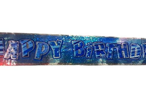 Happy Birthday Blue Glitter Foil Banner