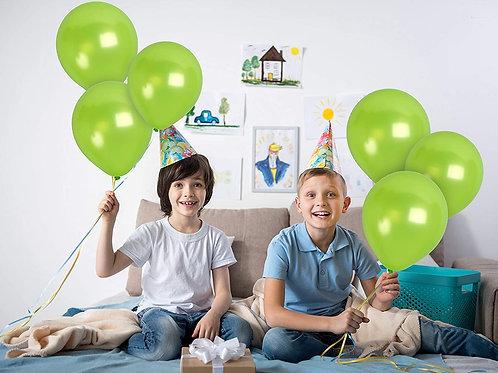 10 Pcs Lime Green Metallic Latex Balloons