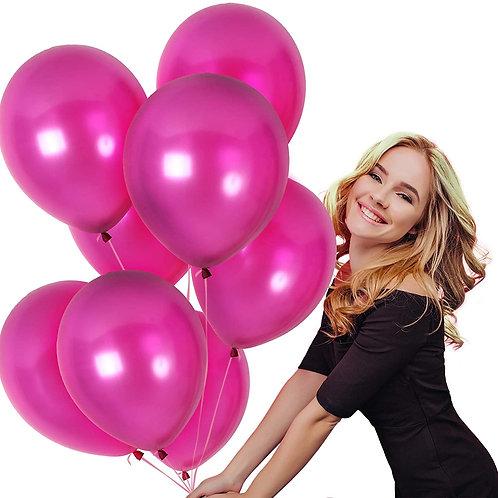 10 Pcs Fuchsia Metallic Latex Balloons