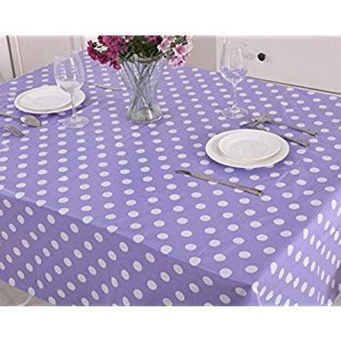 Light Purple Polka Dots Table Cover Vinyl