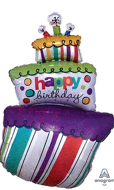 Funky Birthday Cake Foil Balloon