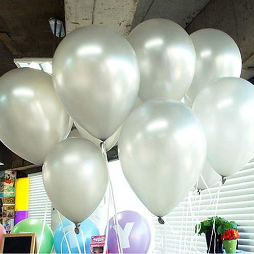 10 Pcs Silver Metallic Latex Balloons