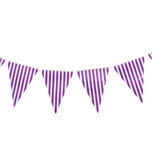 Purple Striped  Bunting Banner