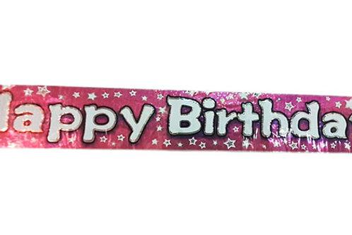 Pink Happy Birthday Stars Foil Banner