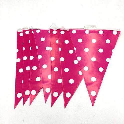 Hot Pink Polka Dot Bunting Banner