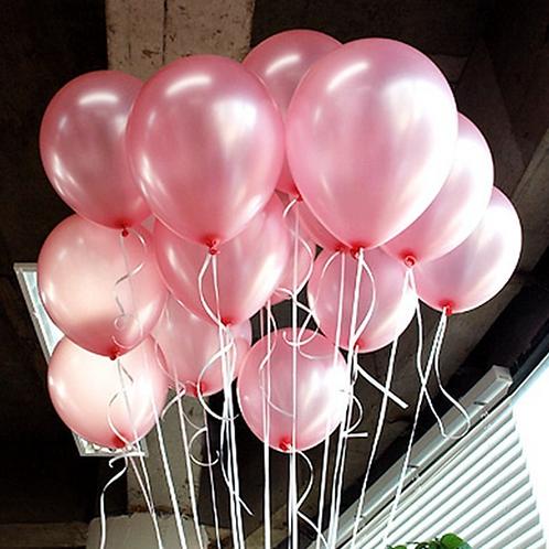10 Pcs Pink Metallic Latex Balloons