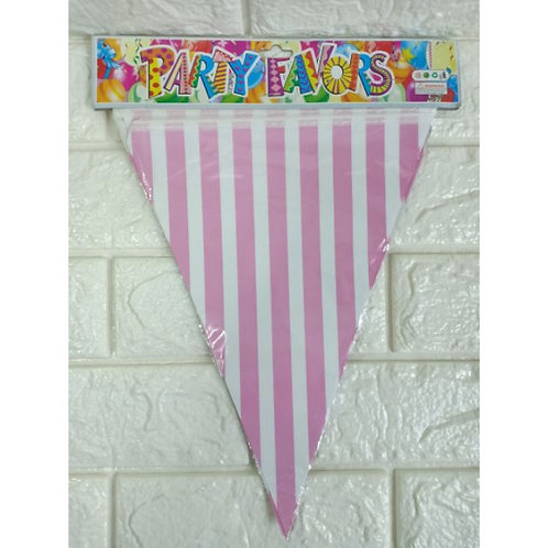 Light Pink Striped  Bunting Banner