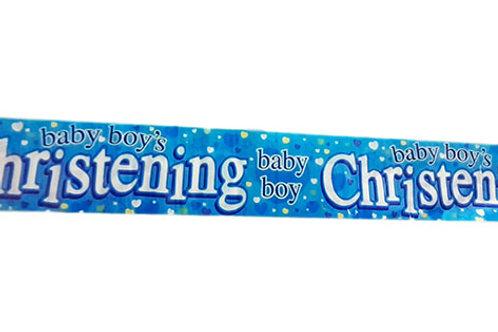 Baby Boy's Christening Foil Banner