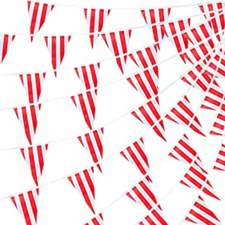 Red Striped  Bunting Banner