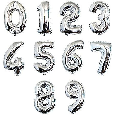 """40"""" Giant Number Foil Silver Balloons"""