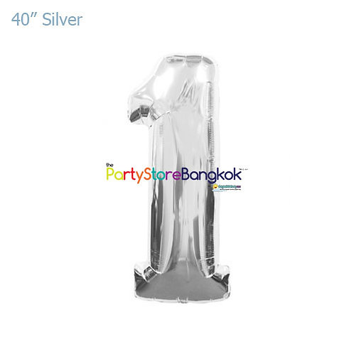 """40"""" Silver Number 1 Foil Balloon"""