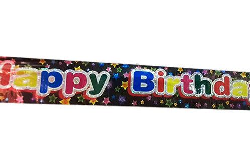Black Happy Birthday Stars Foil Banner