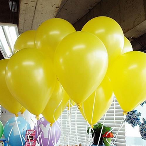 10 Pcs Yellow Metallic Latex Balloons