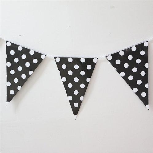 Black Polka Dot Bunting Banner