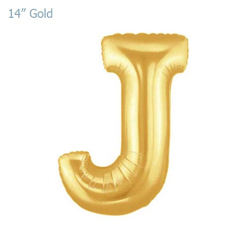 "14"" Gold J Foil Letter Balloon"