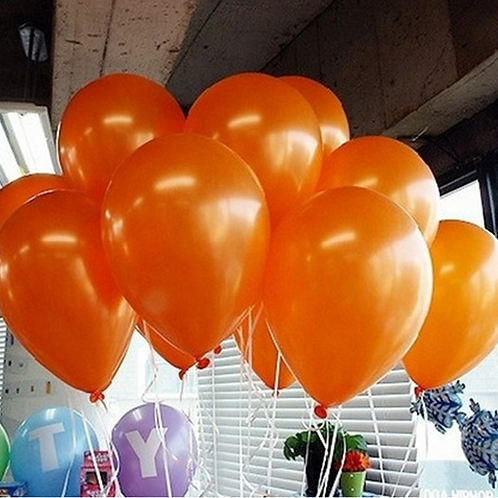 10 Pcs Orange Metallic Latex Balloons