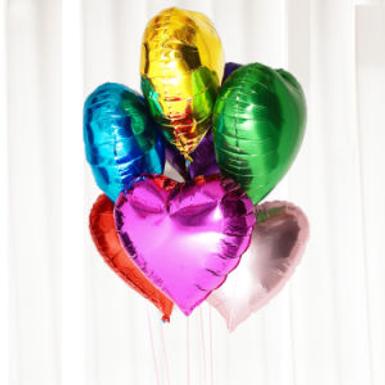 """18"""" Solid Color Heart Shape Foil Balloons (1 Dozen)"""