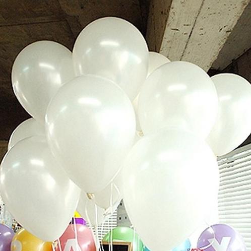 10 Pcs White Metallic Latex Balloons