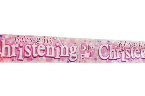 Baby Girl's Christening Foil Banner