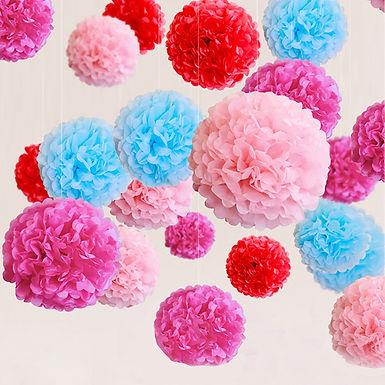 """12"""" Tissue Paper Flower Ball Pompom"""