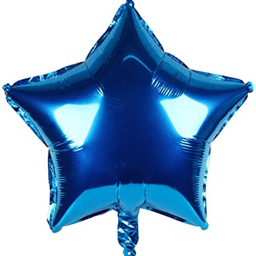 Blue Star Shape Foil Balloons 18""