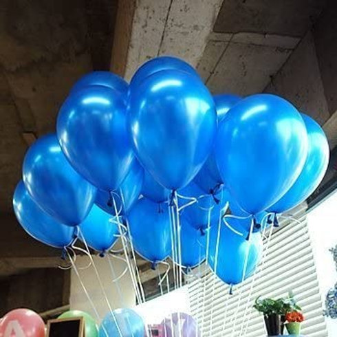 10 Pcs Dark Blue Metallic Latex Balloons