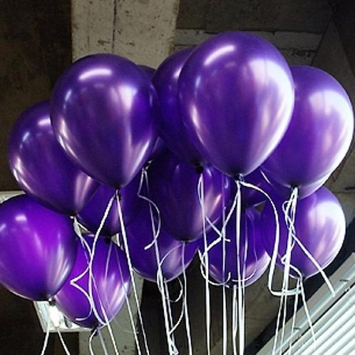 10 Pcs Dark Purple Metallic Latex Balloons