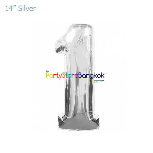 """14"""" Silver Number 1 Foil Balloon"""