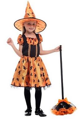 Orange Witch Halloween Kids Costume