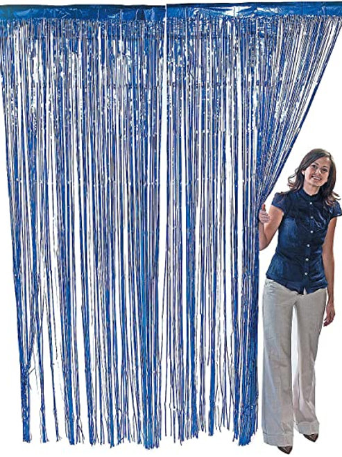 Dark Blue Metallic Foil Curtain