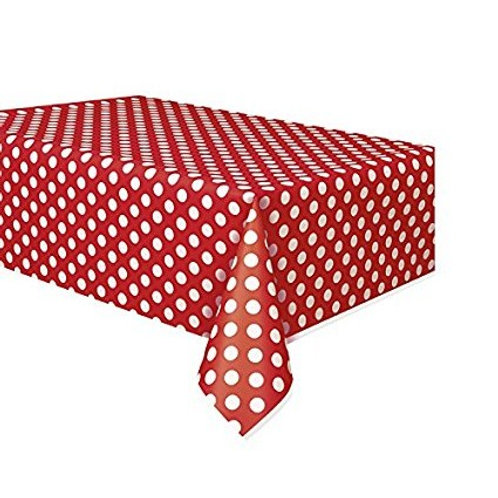 Red Polka Dots Table Cover Vinyl