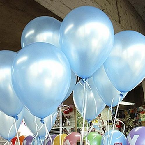 10 Pcs Light Blue Metallic Latex Balloons