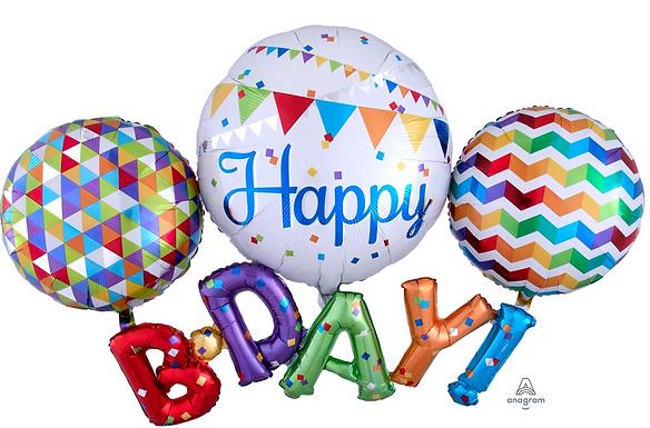 Happy B-D-A-Y Multi Balloon SuperShape