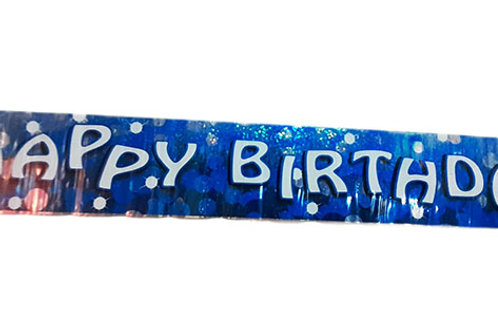 Happy Birthday Blue Crystal Dot Foil Banner