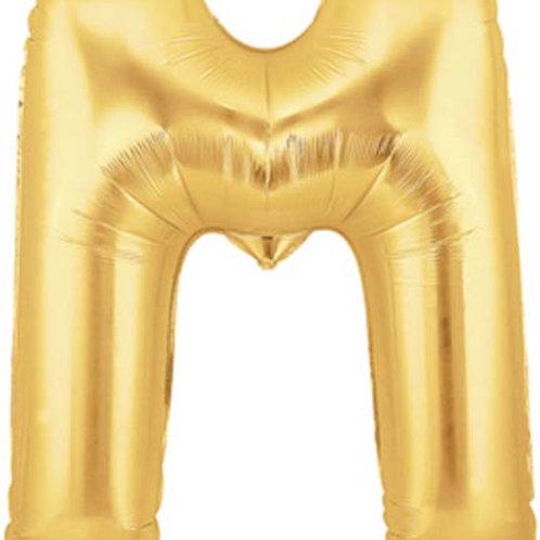 "40"" Gold M Foil Letter Balloon"