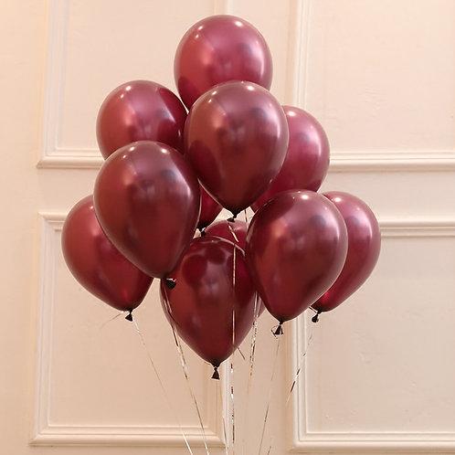 10 Pcs Wine Red Metallic Latex Balloons