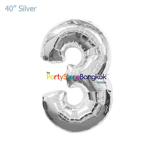 """40"""" Silver Number 3 Foil Balloon"""