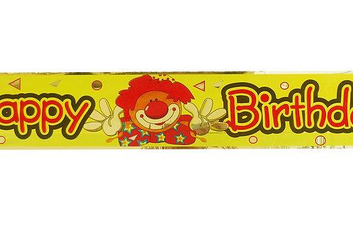 Happy Birthday - Clown Foil Banner